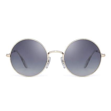353f8483b935e Retro Polarizadas Redondas Gafas de Sol Lentes Gradientes Anteojos de Metal  Dorado Mujer(Dorado Gris Polarizado)  Amazon.es  Ropa y accesorios