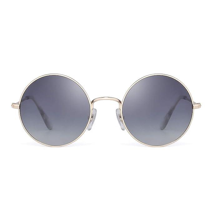 JM Retro Polarizadas Redondas Gafas de Sol Lentes Gradientes Anteojos de Metal Dorado Mujer