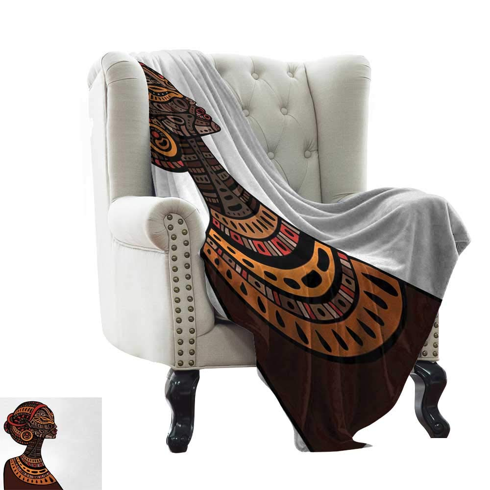 color15 30 x50  Inch BelleAckerman Sofa Blanket African,Savannah Lady Like Amazon Girl Standing for Hunt Safari Style Retro Folk Print,Brown Cocoa Throw Lightweight Cozy Plush Microfiber Solid Blanket 50 x60