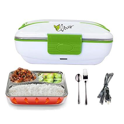 HJJL tartera electrica coche multifuncion fiambrera mechero 12V calentador de comida (verde,)