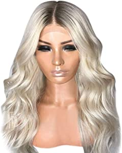 Makkalen Sexy Gradient Blonde Party Wigs Long Curly Hair Mixed Colors Synthetic Wig
