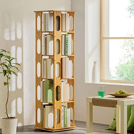 ZXY 360° Giratorio Bambú Estante para Libros, 6 Niveles Estante Ajustable Estrecha Moderno Multi-Capa Repisa Escalera Estante Abierto Suelo Simple Niños Estudiantes-F 37x37x146cm(15x15x57): Amazon.es: Hogar