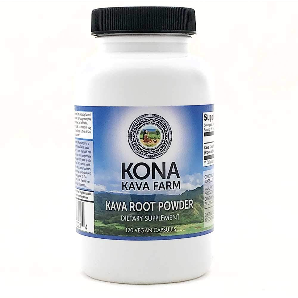 Kona Kava Farms Kava Root Only Premium Capsules | Kava Root Powder Capsules 10% Kavalactone | Kava Root Supplement for Relaxation, Anxiety and Stress Relief (120 Capsules)