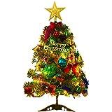 acetek クリスマスツリー 卓上 50cm ミニツリー クリスマス飾り LEDイルミネーション 20点セット オーナメント おしゃれ キラキラ 暖かい 雰囲気満々 簡単な組立品 飾り 商店 部屋 おもちゃ プレゼント