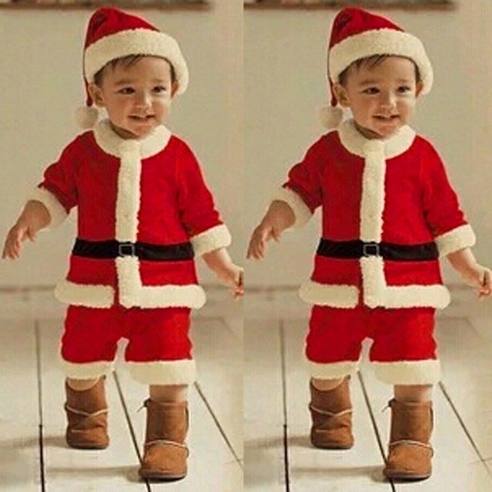 Navidad Ropa -4PCS Conjunto de Navidad para Bebé Niña Niño Santa Tops+Pantalones + Sombrero + Medias Ropa: Amazon.es: Ropa y accesorios