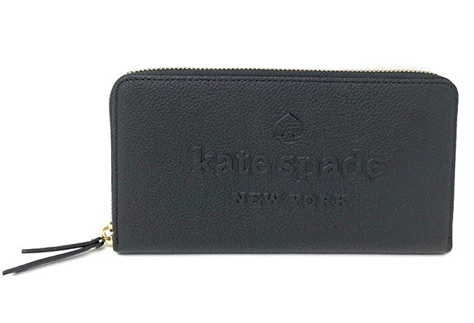62d290d42776b Kate Spade Neda Larchmont Avenue Pebble Leather Embossed Logo Black Wallet  WLRU5289  Amazon.co.uk  Clothing