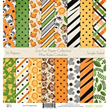 """Zoo Fun Printed Scrapbook Paper Set By Miss Kate Cuttables: Craft Supplies For Scrapbooking, Single - Sided 12""""x12"""" Decorative Cardstock Collection Kit With Jungle Animal Theme (Pack Of 16)"""