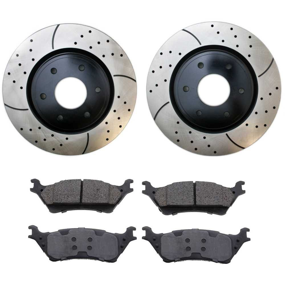 Prime Choice Auto Parts BRKPKG0960 Rear Performance Brake Rotors with Ceramic Pads Set