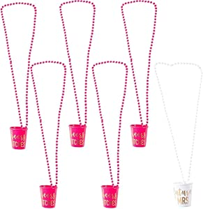6-Pack Cheers Btches and Future Mrs Bachelorette Shot Glass Necklace - Hot Pink and White with Gold Foil Bridal Party Necklaces, Bachelorette Party Supplies, 30 Inches Long