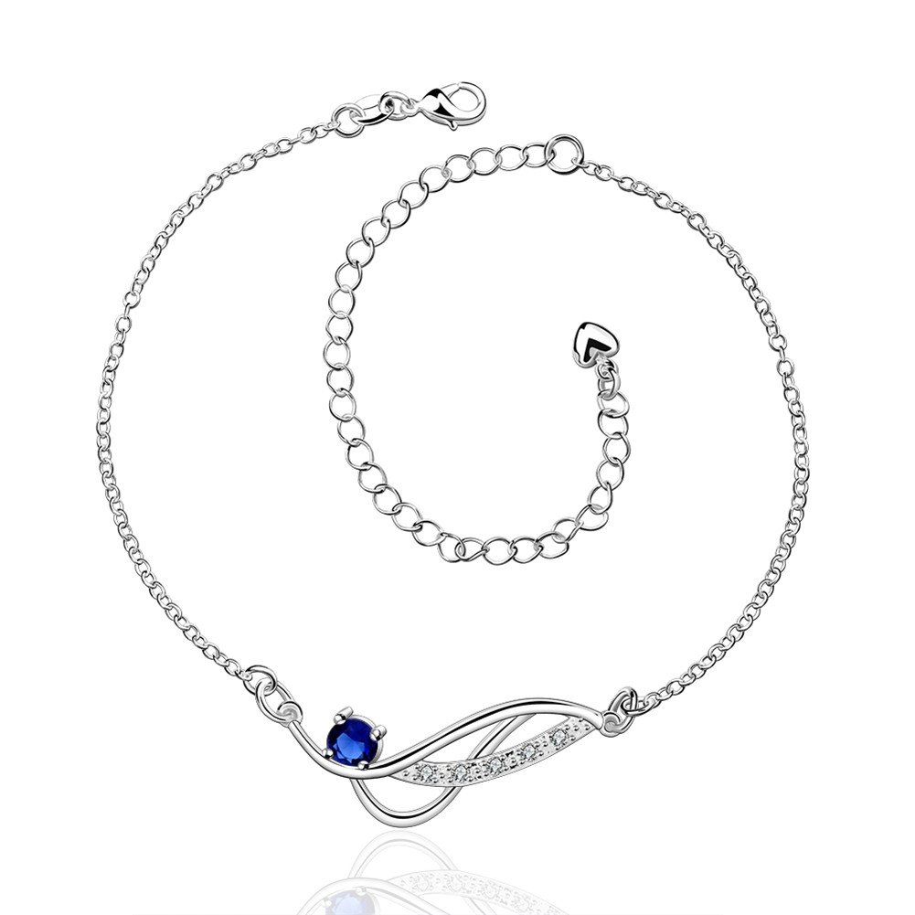 Fulemay Silver Plated Stainless Steel Charm Blue Cubic Zircon Adjustable Anklet for Women&Girls(11inch)