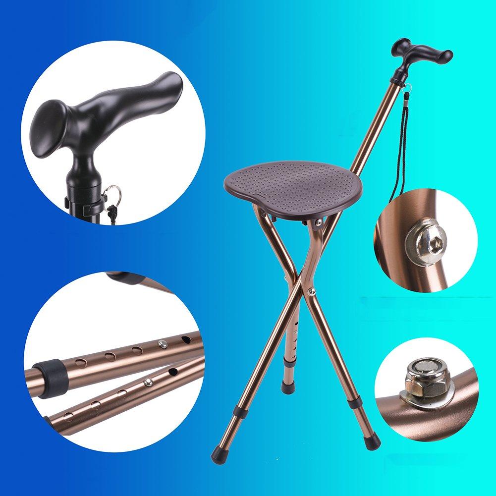Elderly Folding Three Legged Cane Seat, Adjustable Height Lightweight Walking Stick With Seat Medical Aid Massage Anti-slip Crutch-Coffee