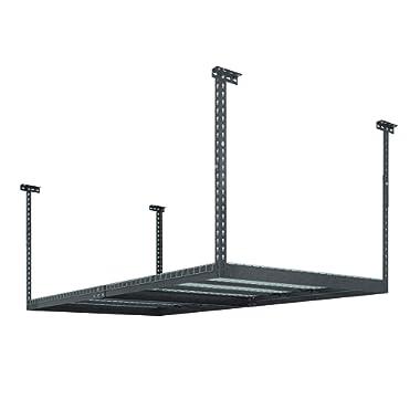 NewAge Products 40151  4-Feet by 8-Feet Ceiling Mount Garage Storage Rack, Grey