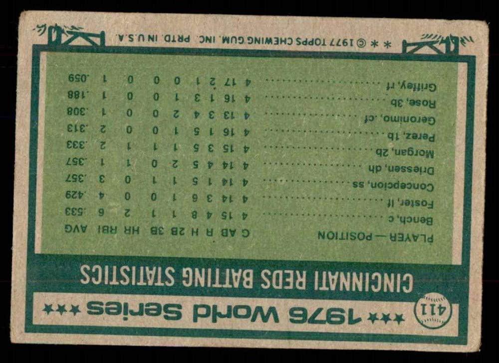 1977 Topps # 411 1976 World Series Joe Morgan//Johnny Bench Cincinnati//Boston Reds//Yankees FAIR Reds//Yankees Baseball Card