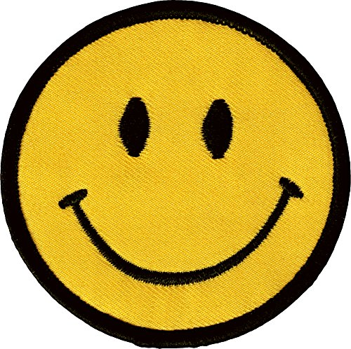 1 X Smiley Happy / Smile Face Logo Badge Iron on Patches (Dia. 2 3/4