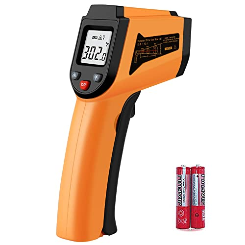 Laser Infrared Thermometer Non-Contact Digital Temperature Gun -50 C to 400 C -58 F to 752 F IR Thermometer for Industrial,Kitchen Cooking,Ovens Orange