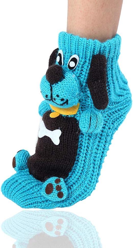 Natale calze antiscivolo maglione caldo calze per la casa per le donne Caldo inverno calze scaldino interno calze cartoon 3D animali per le donne