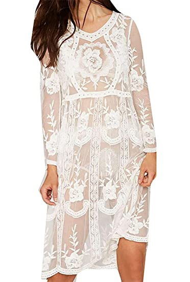753981109d6e Be Loved Beloved Womens Embroidery Hollow Round Neck Beach Wear Mesh Lace  Long-Sleeved See