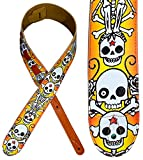 Guitar Strap, Leather on top and Soft Suede Backing, Handmade, Awesome Design, Comfortable, Electric / Acoustic Guitar and Bass Gift, Skull Artistic Pattern Yellow