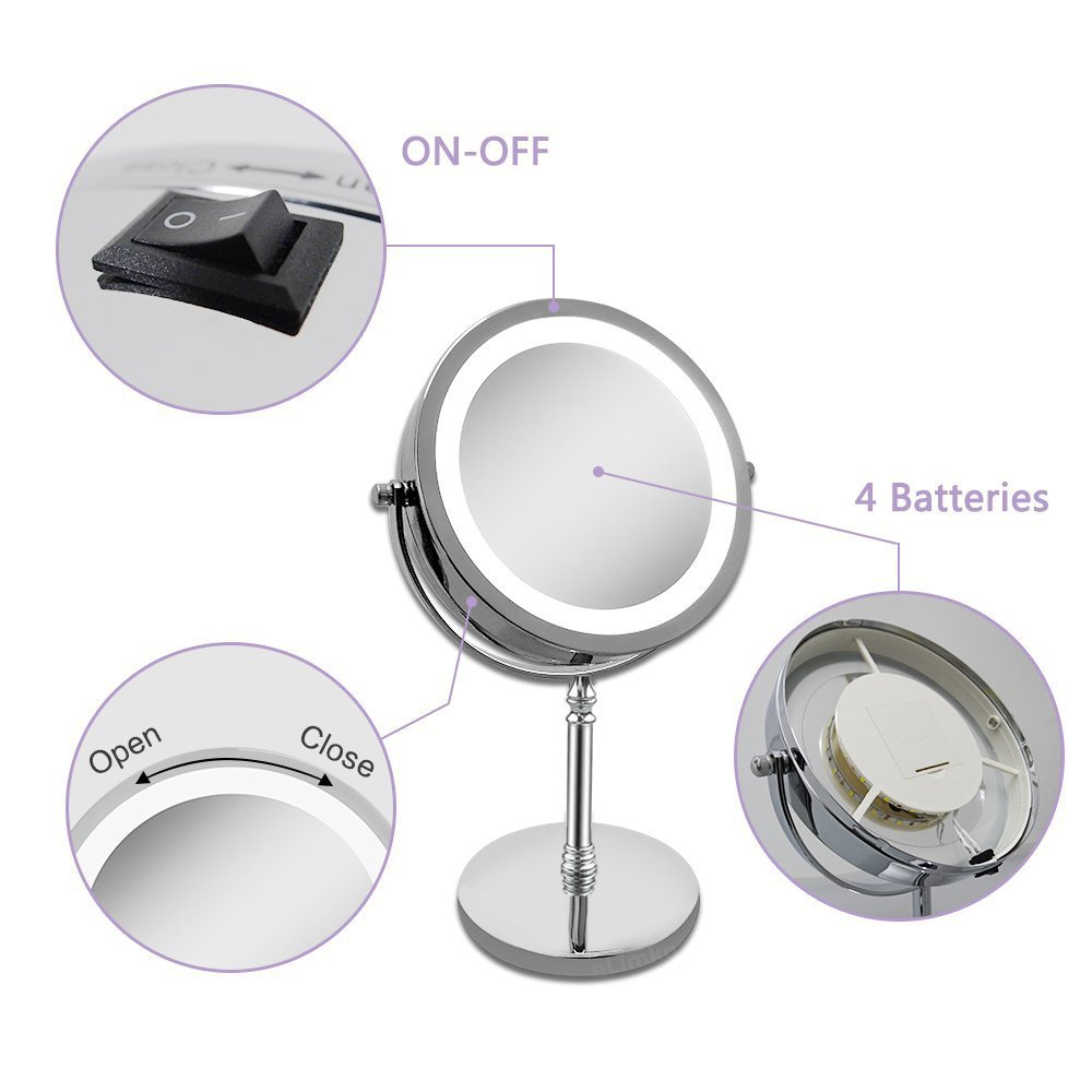 Grossissant miroir table grossissant x10 7 inch miroir de maquillage led recto verso clair for Miroir grossissant x10