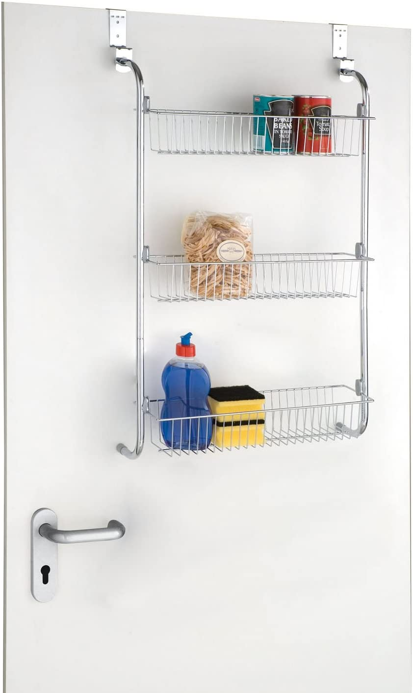 Taylor & Brown® 3 Tier Chrome Over Door Hanging Kitchen Bathroom Storage Rack Shelves