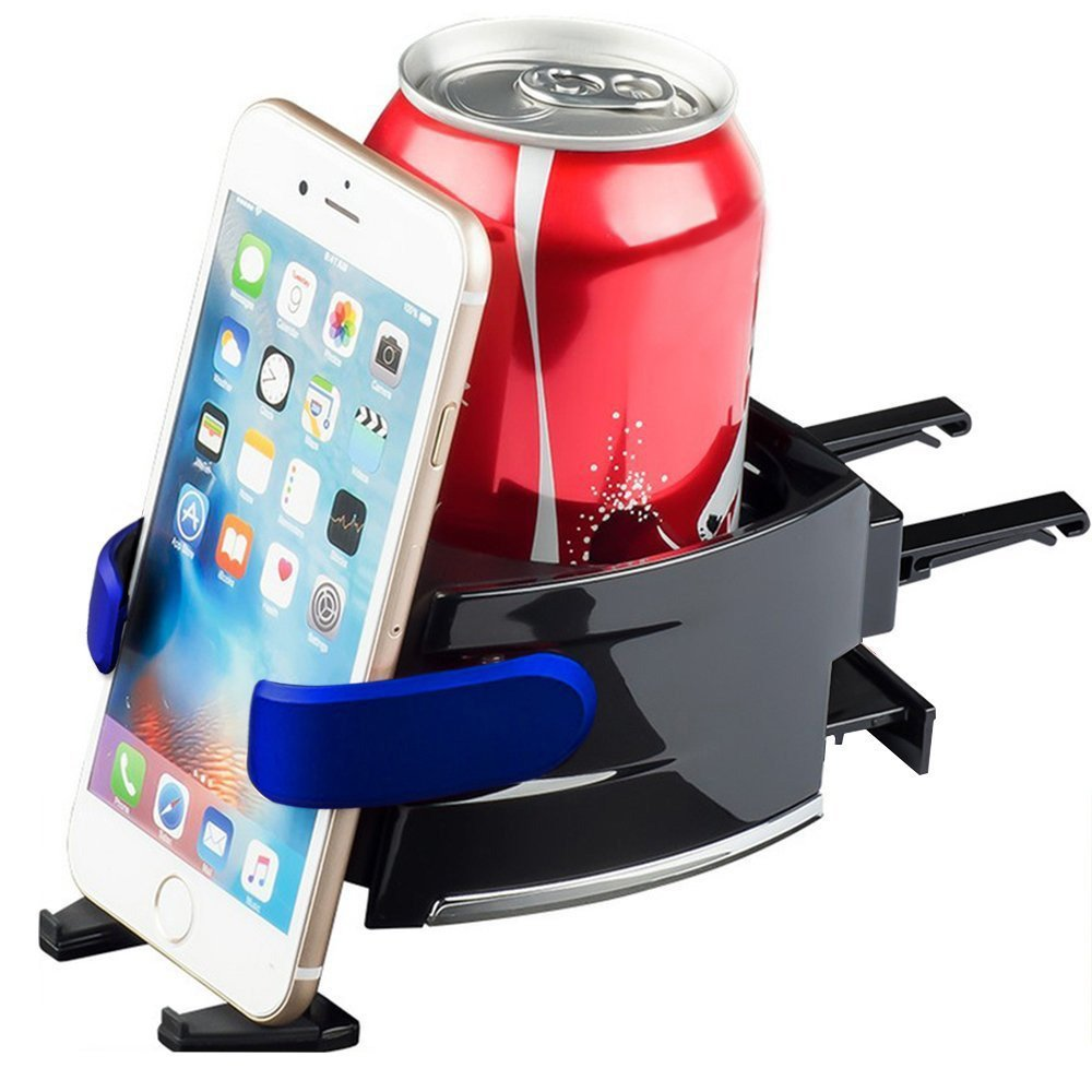 Topoint Adjustable 2 in 1 Car Drink Stand Cell Phone Holder Air Vent Mount for Vehicle Automobile Blue AX-A8 Car Cup Holder