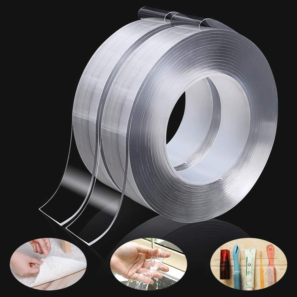 Double Sided Tape Heavy Duty Traceless Adhesive Washable Tape Transparent Mounting Tape 19.7FT 2 Pack Nano Tape Removable Tape Double Sided Adhesive Carpet Tape Removable Gel Grip Tape
