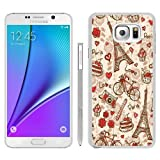 France Paris Love City Eiffel Tower Floral Pattern White Shell Case for Samsung Galaxy Note 5,Unique Cover