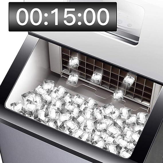 Máquina portátil para fabricar hielo para encimeras, hacer 121 libras de hielo en 24 horas, 6 kg de volumen de hielo de almacenamiento con pantalla LED Perfecto para fiestas, bebidas mixtas, con