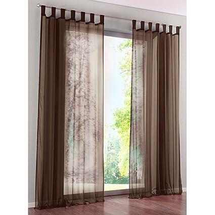KOU-DECO Rideau Voilage à Pattes Décoration Transparent de Fenêtre  Chambre/Salle de Bain/Balcon - 1Pièce 140x245cm (chocolat)