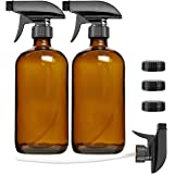 Empty Amber Glass Spray Bottle 2 Pack, SXUDA 16oz Refillable Container for Essential Oils, Cleaning Products, or…