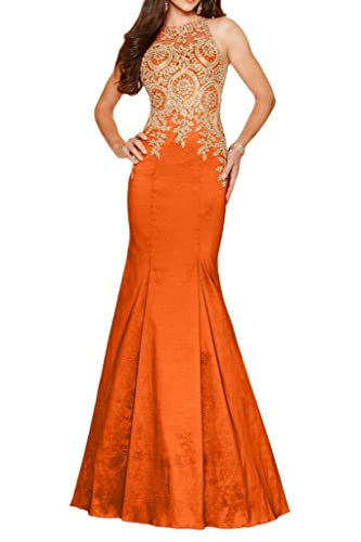 Promworld Women's High Neck Gold Embroidery Long Evening Dress with Beads