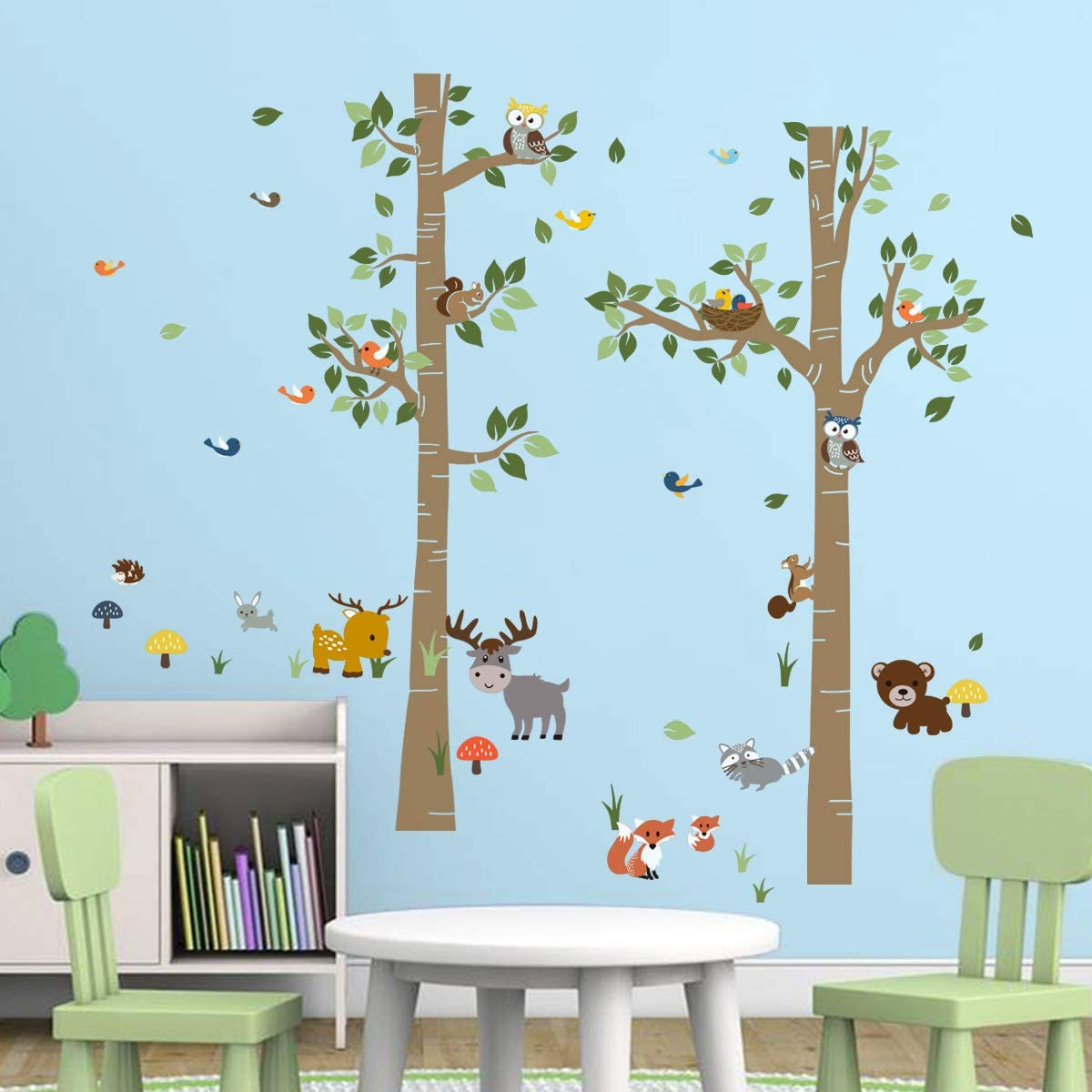 H: 62 Inches decalmile Forest Animals Birch Tree Wall Decals Deer Owl Fox Wall Stickers Baby Nursery Kids Bedroom Playroom Wall Decor