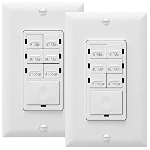 ENERLITES Countdown Timer Switch, Fan Switch Timer, Wall Timer Switch, Light Timer Switch, Bathroom Timer Switch, 5 min – 4 hrs, Night Light LED Indicator, Neutral Wire Required, HET06, White, 2-Pack