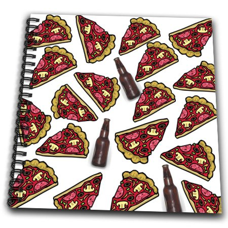 3dRose db_180357_1 Image of Cute Repeat Pattern of Beer and Pizza Slices-Drawing Book, 8 by 8-Inch