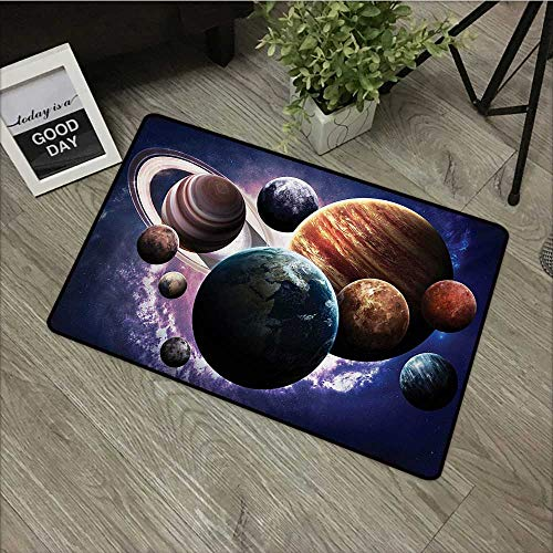 pad W35 x L47 INCH Space,Solar System Planets All Together in Space Mercury Jupiter Globe Saturn Universe,Multicolor Easy to Clean, no Deformation, no Fading Non-Slip Door Mat Carpet