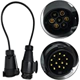 KKmoon 12V de 7 à 13 Broches pour Remorque avec Adaptateur de Câble Câblage Connecteur d'attelage & Socket
