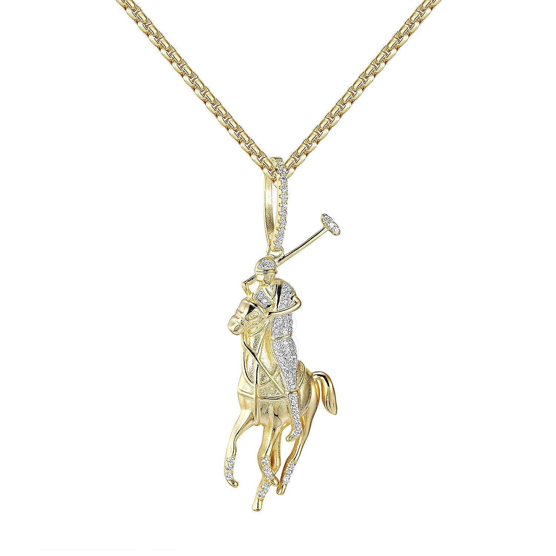 Polo jinete caballo colgante de plata collar 14 K acabado dorado ...
