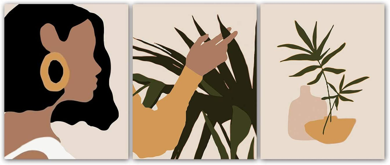 "Modern Minimalist Black Women Leaf Art Painting Set of 3 (8""X10"" Canvas Picture) Fashion Pop Boho Girl Room Poster Painting Female Bathroom Bedroom Wall Home Decor Frameless"