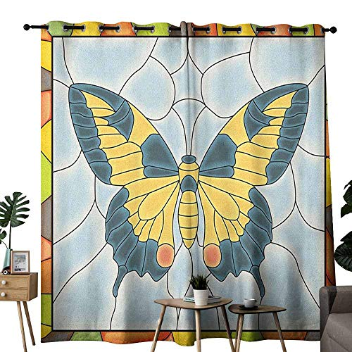Screen Fireplace Stained Butterfly Glass - duommhome Butterflies Fresh Curtains Butterfly in Stained-Glass Window with Frame Wing Spring Garden Illustration Darkening and Thermal Insulating W120 x L84 Multicolor