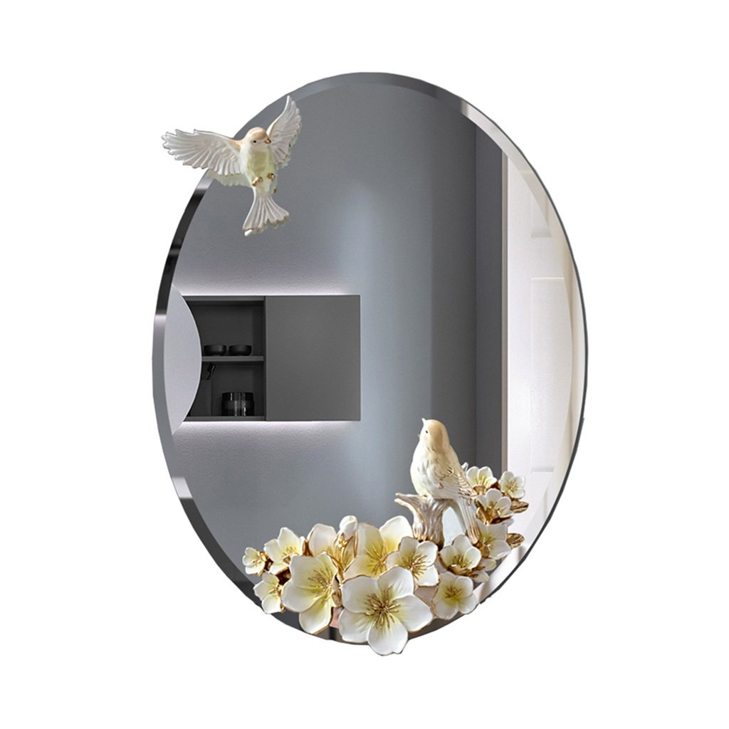 4560CM CSQ Oval Mirror, Wall Hanging Dressing Mirror Living Room Bathroom Decoration Makeup Mirror Multifunction Bedroom Waterproof Mirror 45  60CM Makeup and Mirror (Size   45  60CM)