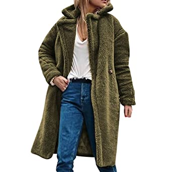 Jacke Langarm Revers Casual Plüsch Frauen Fellimitat Damen Amuster Lammwollmantel Fell Tunika Strickjacke Teddy Parka Winter Cardigan Warme Mantel drCoxeBW