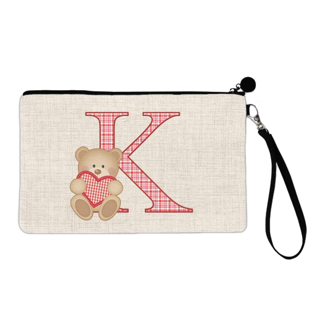 BRGiftShop Valentine Teddy Bear Pink and Red Plaid Monogram Letter K Large Linen Cosmetic Bag with Zipper