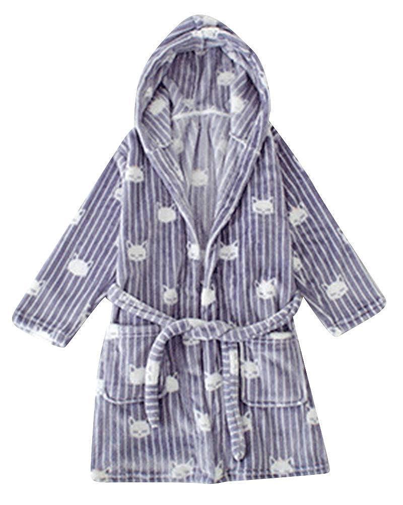 Kids Boys Girls Bathrobe Velour Towelling Hooded Dressing Gown Soft Fine Comfortable Nightwear Bath Robe Lounge Wear Housecoat