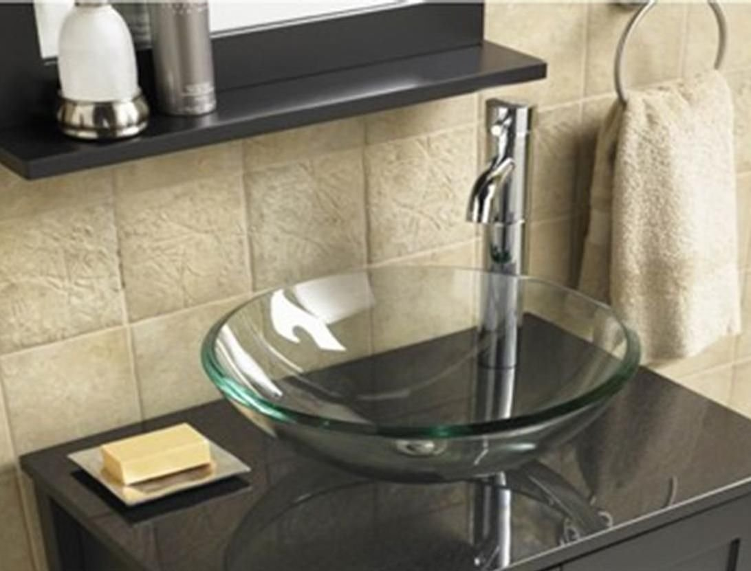 BATHROOM CLOAKROOM COUNTERTOP CLEAR GLASS BOWL BASIN SINK