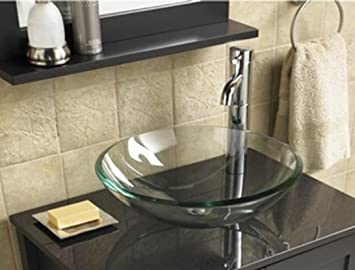 BATHROOM CLOAKROOM COUNTERTOP CLEAR GLASS BOWL BASIN SINK Part 36