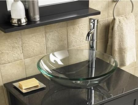 Superior BATHROOM CLOAKROOM COUNTERTOP CLEAR GLASS BOWL BASIN SINK