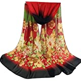 """Hithop Bestpriceam Women Lady Chiffon Butterfly Print Neck Shawl Scarf Scarves Wrap Stole (Red New), 59.06""""X23.62""""/70…"""