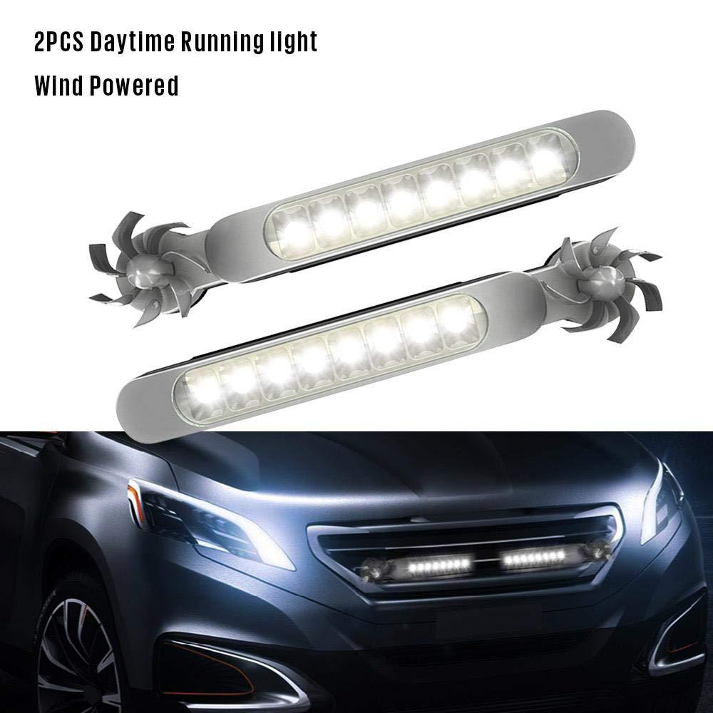 2 Pcs Luces de Energ/ía E/ólica LED Luces Decorativas LED Impermeable Luces Antiniebla Coche con 8 LED Tenlso Luces de Circulaci/ón Diurna de Coche