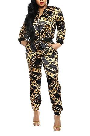 1c36f2ace9 Selowin Women Chain Print Zipper Jacket Jogger Pocket Pants Set 2 ...