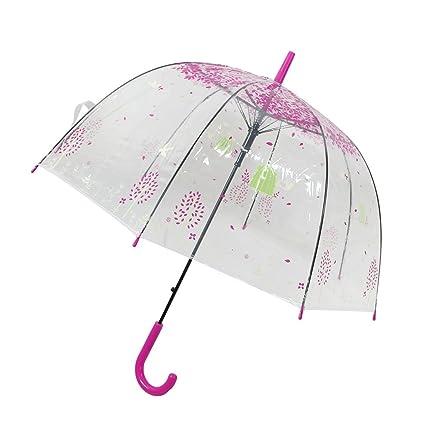 Hojas de los pájaros Modelo enganchado manejar el paraguas engranaje de la lluvia fucsia Claro